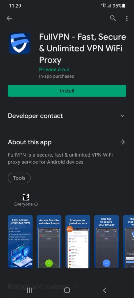 Google play store FullVPN download and install